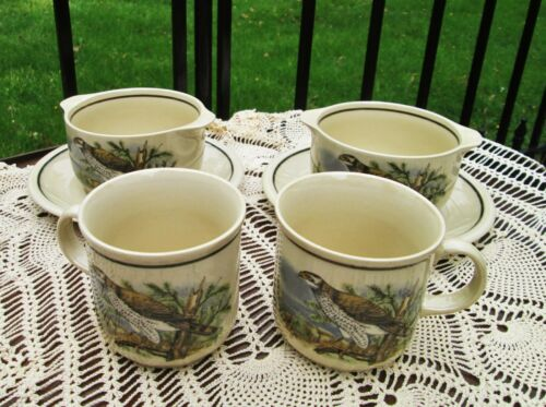 CP East Germany Porcelain Lug Soup Bowl Cup Saucer Set Falcon Bird in Mountains