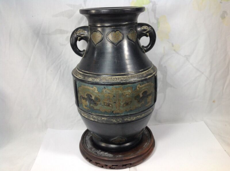 Japanese Meiji Period Lacquered On Ceramic Vase