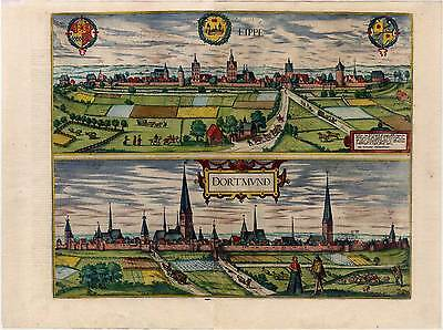 Lippstadt - Dortmund - Kupferstich aus Braun-Hogenberg 1588