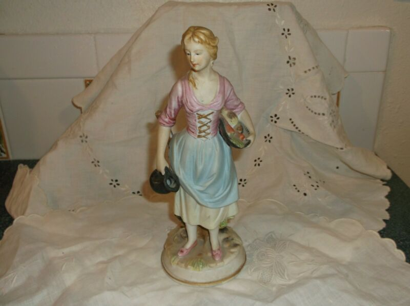 Vintage Kelvins Japan Figurine Maiden W/ Pitcher & Veggie Basket from Japan