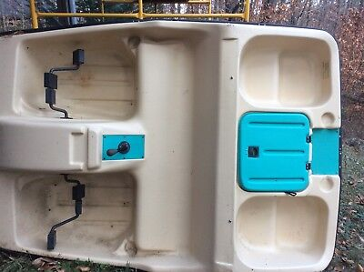 Paddle Boat w/ Canopy 5 Personally Pontoon Pedal Raft Lake River Water Fishing Blue