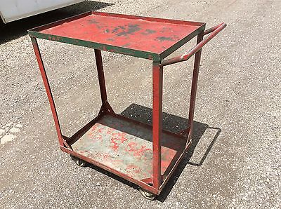 Vintage Red Metal 2 Shelf W Handle Cart On Wheels - Very Good