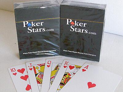 2 x Poker Stars Karten Pokerkarten 100% Plastik Spielkarten Standard Index
