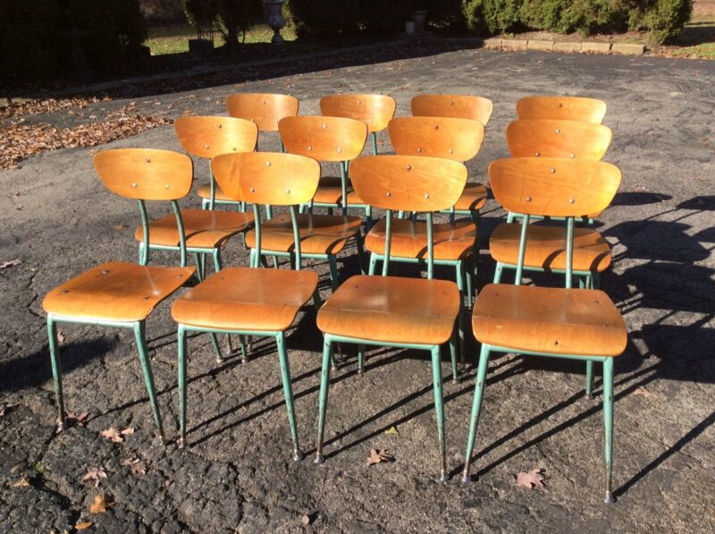 12 Vintage Wood / Green Metal Mid-Century Adult Size School Chairs - Very Good