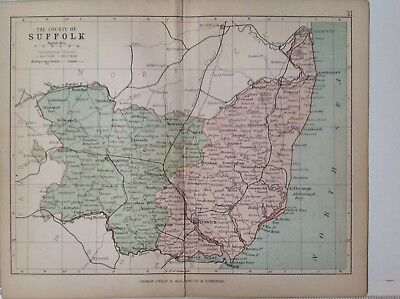 Suffolk 1878 Antique County Map, Bartholomew England Atlas Railways, Canals