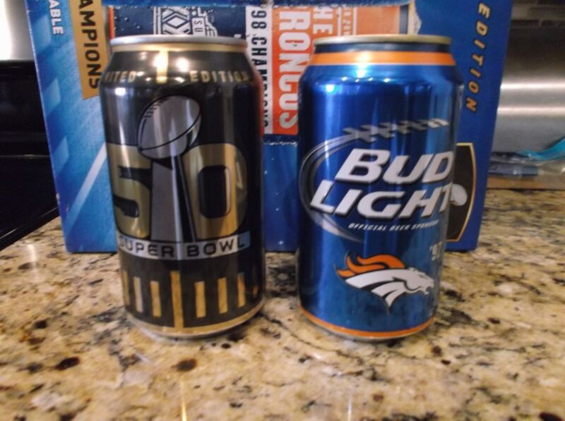 2 NFL SUPER BOWL 50 -  BUD LIGHT BUDWEISER BEER CANS LIMITED EDITION - EMPTY