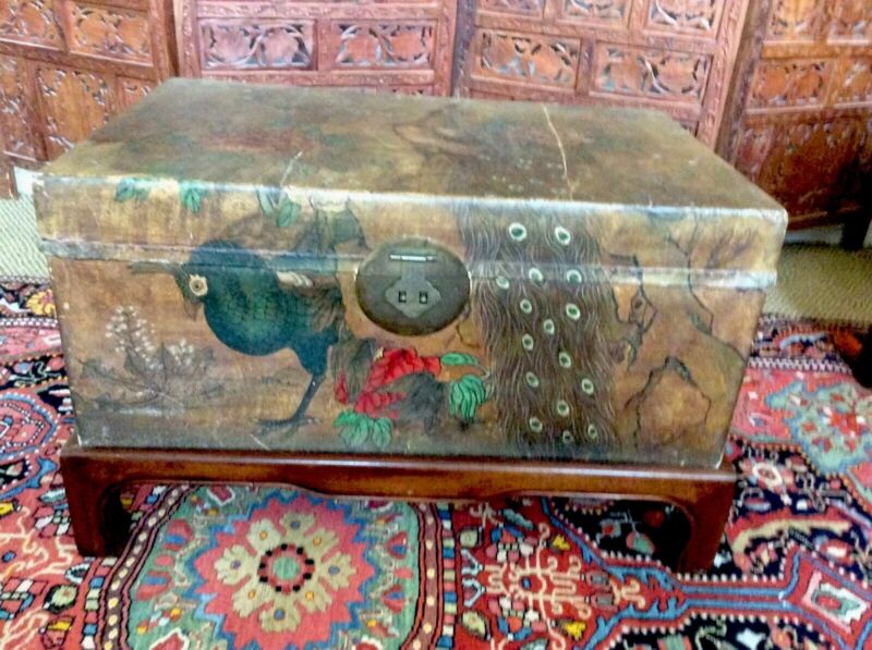 Large Antique Hand Painted Chinese Pigskin Wood Trunk Stand Solid Brass Hardware