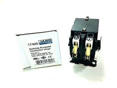 2 Pole Contactor 40 Amp 24v Coil - Jard 17425 Heavy-duty Lugs Hvac New