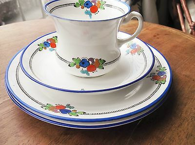RARE ART DECO TUSCAN HANDPAINTED CHINA TRIO & XTRA PLATE 9407 BOLD COLOURS