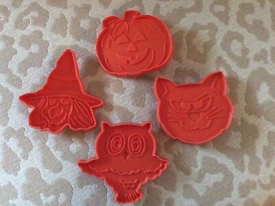 Four (4) Vintage Hallmark Halloween Cookie Cutters Pumpkin Witch Owl -