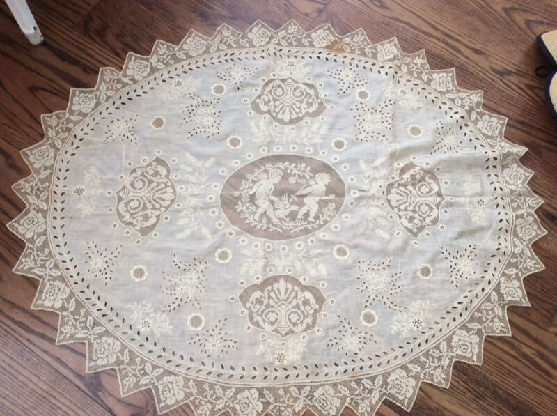 As Is Antique vtg victorian Net Lace Cherub Putti Large Doily Tablecloth 38x31""