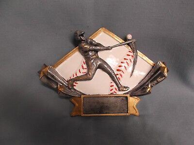 Baseball trophy resin diamond plate full color home run swing DSR51 ()