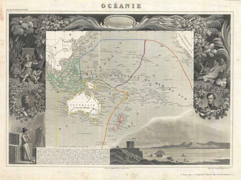 1852 Levasseur Map of Australia and Polynesia (Oceanie)