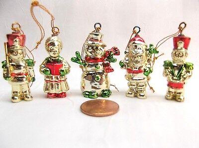 Vintage Minature Christmas Ornaments Snowman Santa Drum Major Soldier Singer