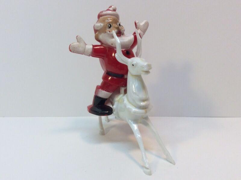 Adorable Vintage Hard Plastic Santa On Reindeer Candy Lollipop Holder