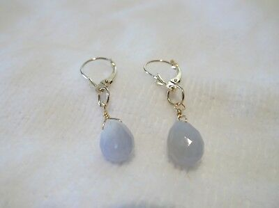 14K Yellow Gold Faceted Chalcedony Leverback Earrings  ~9mm ()