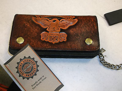 "Harley-davidson Brown Leather ""1903 Eagle"" embossed biker wallet vintage"