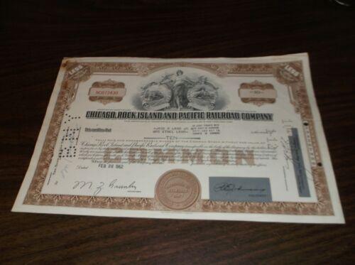 1962 ROCK ISLAND RAILROAD CRI&P TEN SHARES COMMON STOCK CERTIFICATE