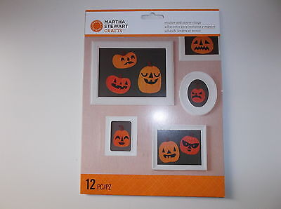 Martha Stewart Crafts Pumpkin Jack-O'-Lantern Window & Mirror Clings NIP 12pc  - Martha Stewart Halloween Window Clings