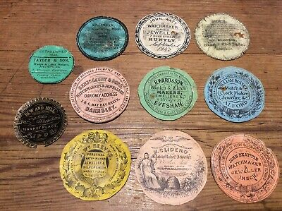 Eleven Antique Verge Pocket Watch Advertising Packing Papers