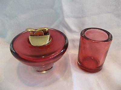VINTAGE EVANS  RED  CIGARETTE LIGHTER AND CIGARETTE CUP