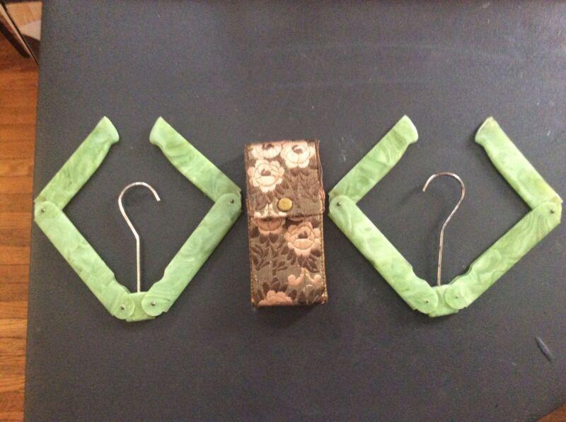 Antique Bakelite Folding Jade Green Travel Hangers