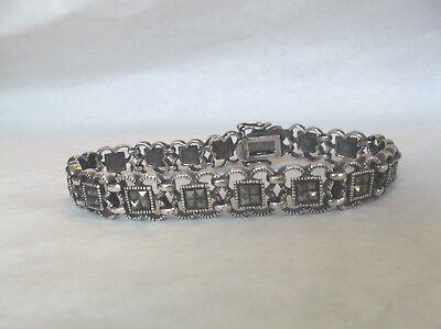 Vintage sterling silver marcasite filigree design linked bracelet ()