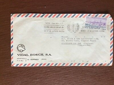 K1g Ephemera Stamped Envelope Airmail 1984 Spain To England