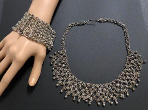 Vintage Egyptian Filigree Sterling Silver Collar Chain Necklace Bracelet Set