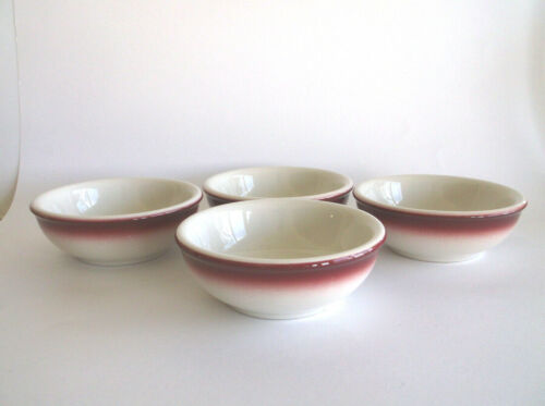(4) Vintage Buffalo China Restaurant Ware Chili Bowls  Burgundy Rim  Excellent!