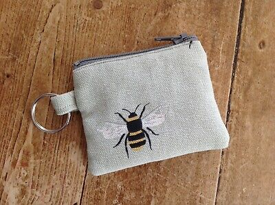 Handmade Earphone Case Tiny Coin Purse Key ring Sophie Allport Bee Fabric