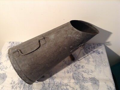 Vintage French Galvanised Coal Scuttle - Garden Planter (3143)