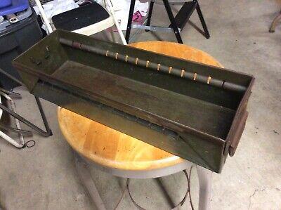 Vintage Green Industrial Metal Bin W Handle - Very Good