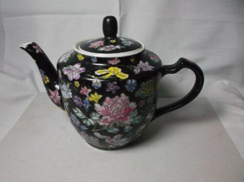 Vintage Chinese Famille Noire Black Floral Porcelain Teapot Hand Painted