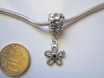 Abalorio colgante cierre rosca pulsera europea flor cristal negro plata tibetana