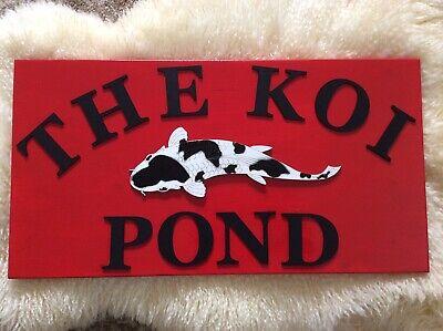 Handcrafted Oriental 'The Koi Pond' Sign 1 Koi Garden/Koi/Patio/Zen Sign - BLACK