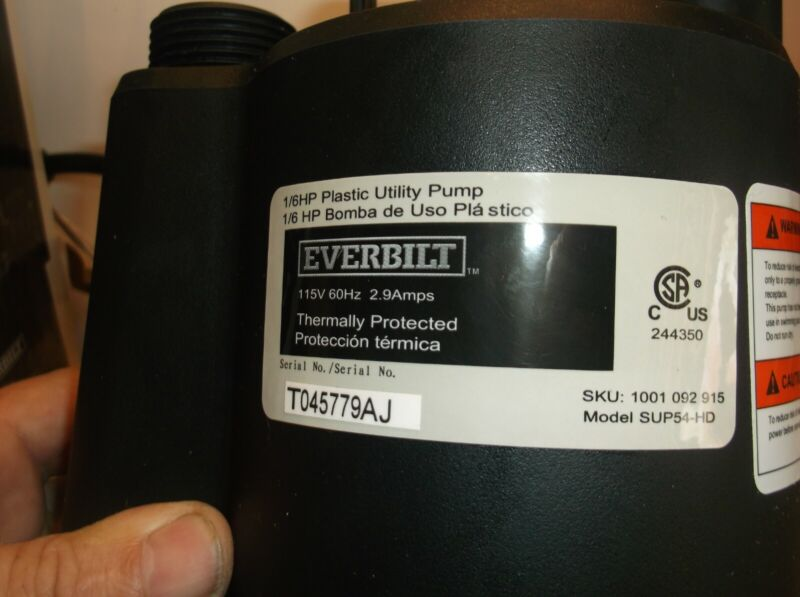 1001092915 Everbilt SUP54-HD 1/6 HP Submersible Utility Pump - Tested