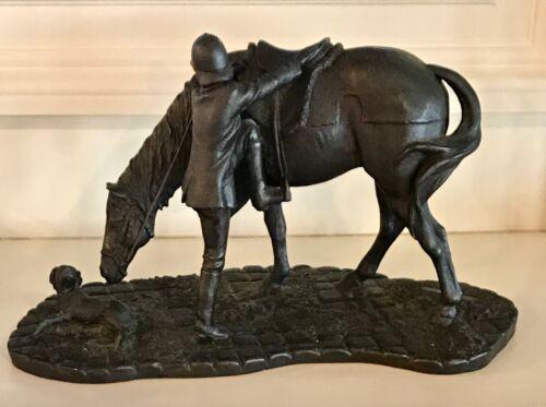 HEREDITIES Bronze Resin Thoroughbred Horse Racing Jockey Dog Sculpture ~ As Is