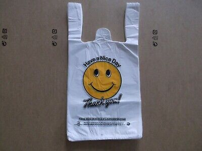 1000 Ct Plastic Shopping Bagst Shirt Type Grocery White Happy Face Small Size