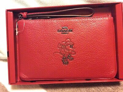 Coach Genuine Boxed Mini Mouse Wristlet In Red Leather BNWT