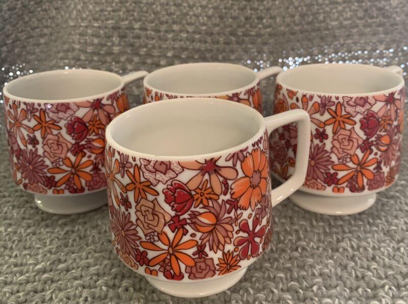 FOUR 1965 Holt Howard 7706 Footed Floral Coffee Cup Mug BoHo Hippie MCM Retro