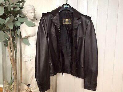 Beautiful Genuine Versace Istante Black Leather Ladies Jacket Size 10