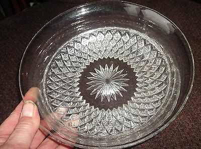 "VINTAGE GLASS DISH SPARKLE CUT LOOK RAISED SPIKY OUTER BASE 7.75"" DIA X 2.5"""