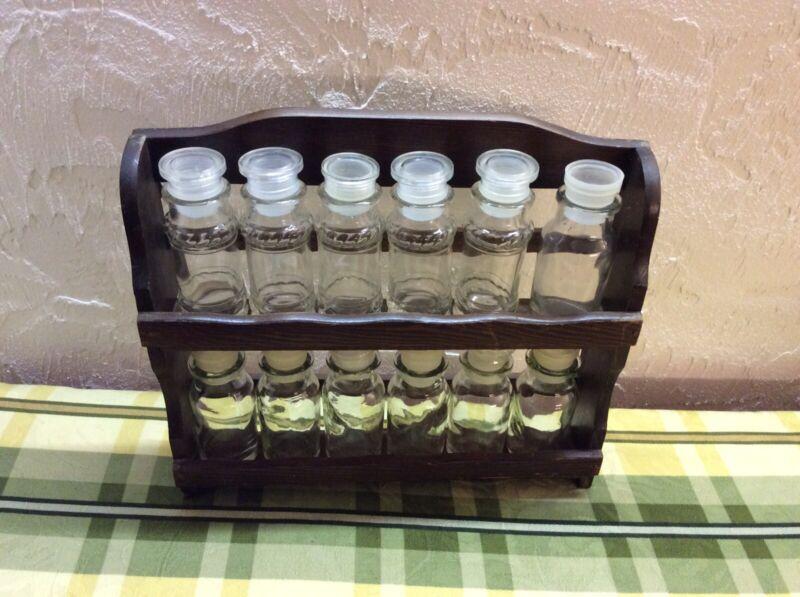 Vintage Wooden Hanging Spice Rack, 12 Glass Spice Bottles