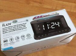 iLuv Wireless Charging Digital Alarm Clock With FM Radio And USB Charing Port.