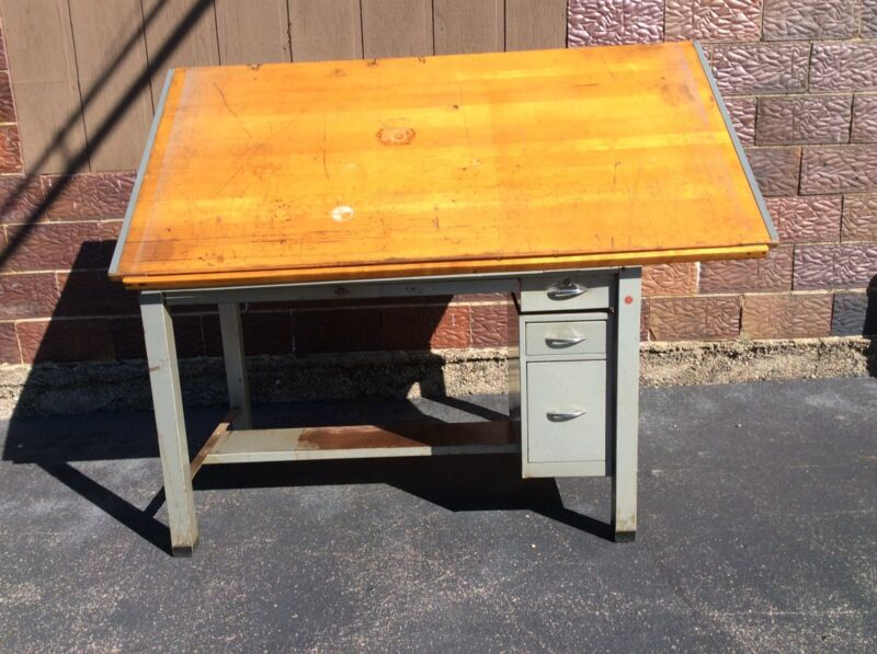 Vtg Industrial Stacor Co. Wood / Metal Drafting Table W/ 4 Drawers - Very Good
