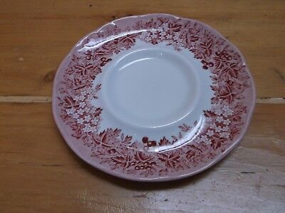 J&G Meakin Romantic England Anne Hathaway's Cottage Coffee Saucer Red