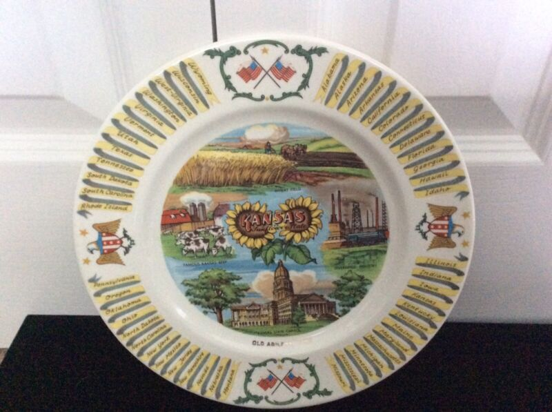 Vintage Collectible Kansas Sunflower State American Flag Souvenir Plate 9 In.