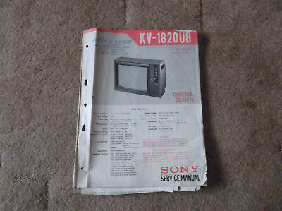 Sony Service Manual For Trinitron Colour TV -  Model KV - 1820UB
