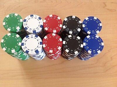 250 Poker Chips, 5 Farben Pokerkoffer Pokerset Metallkern schwere Ausführung